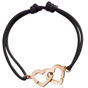 Bracelet sur cordon Double Cœurs - Or rose - 450€