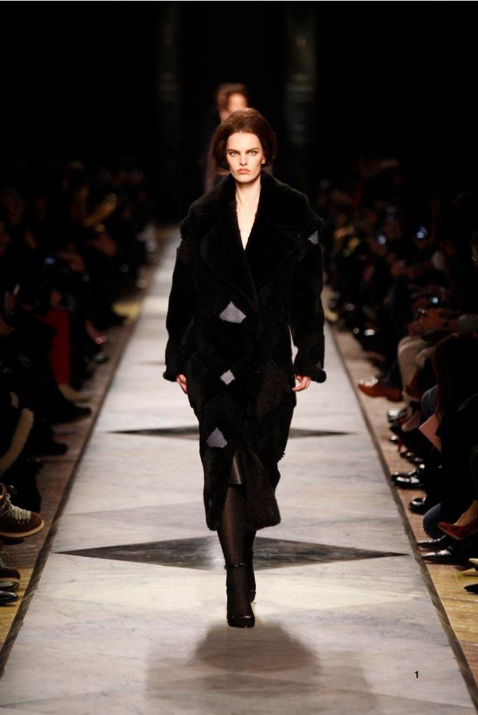 1-LOEWE-AH-2013-Black Shearling Patchwork Coat_ Black Grained Calf Skirt_ Black Short Hair Lizard Sandal