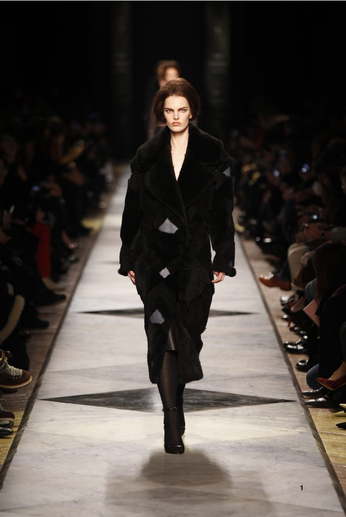 1-LOEWE-AH-2013-Black Shearling Patchwork Coat_ Black Grained Calf Skirt_ Black Short Hair Lizard Sandal