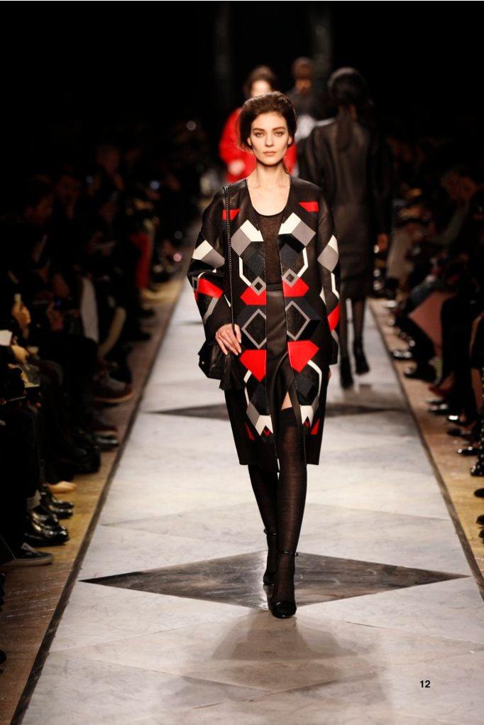 12-LOEWE-AH-2013-Red Napa Patchwork Coat_ Black Cashmere Rib-knit Vest_ Black Napa Skirt_ Black Snake Sandal_ Black Napa 'Flamenco Box' Bag