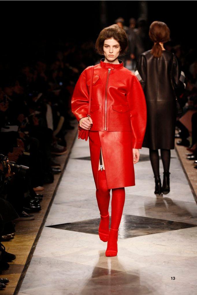 13-LOEWE-AH-2013-Red Bonded Napa Jacket_ Red Bonded Napa Skirt_ Red Crocodile Sandal_ Red Calf 'Aia 23' Bag
