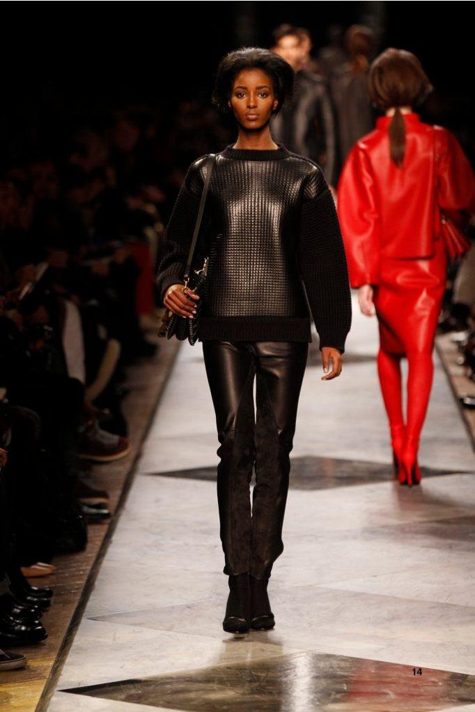 14-LOEWE-AH-2013-Black Napa Bonded Rib-knit Sweater_ Black Napa and Suede Jodhpur_ Gold Chevaliere Ring_ Black Long Hair Napa Sandal_ Black Chain Calf'Aia 23' Bag