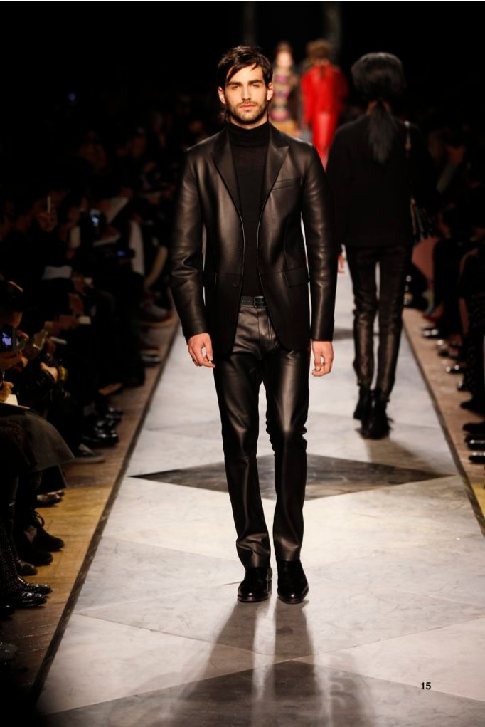 15-LOEWE-AH-2013-Black Grained Calf Jacket_ Black Cashmere High-neck Jumper_ Black Grained Calf Trousers_ Black Calf Belt_ Black Leather Chelsea Boot