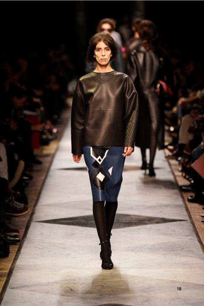18-LOEWE-AH-2013-Black Quilted Napa Sweatshirt_ Royal Blue Napa Patchwork Skirt_ Black Napa Sandal