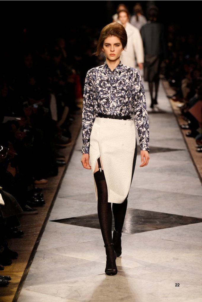 22-LOEWE-AH-2013-Blue and White 'Ceramica' Print Silk Shirt_ White and Navy Rubber Embossed Napa Skirt_ Black Napa Sandal
