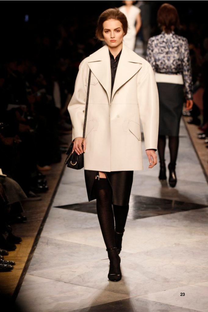 23-LOEWE-AH-2013-White Bonded Napa Coat_ Dark Navy 'Ceramica' Print Silk Shirt_ Black Napa Skirt_ Black Short Hair Napa Sandal_ Navy Chain Calf 'Amaya 23' Bag