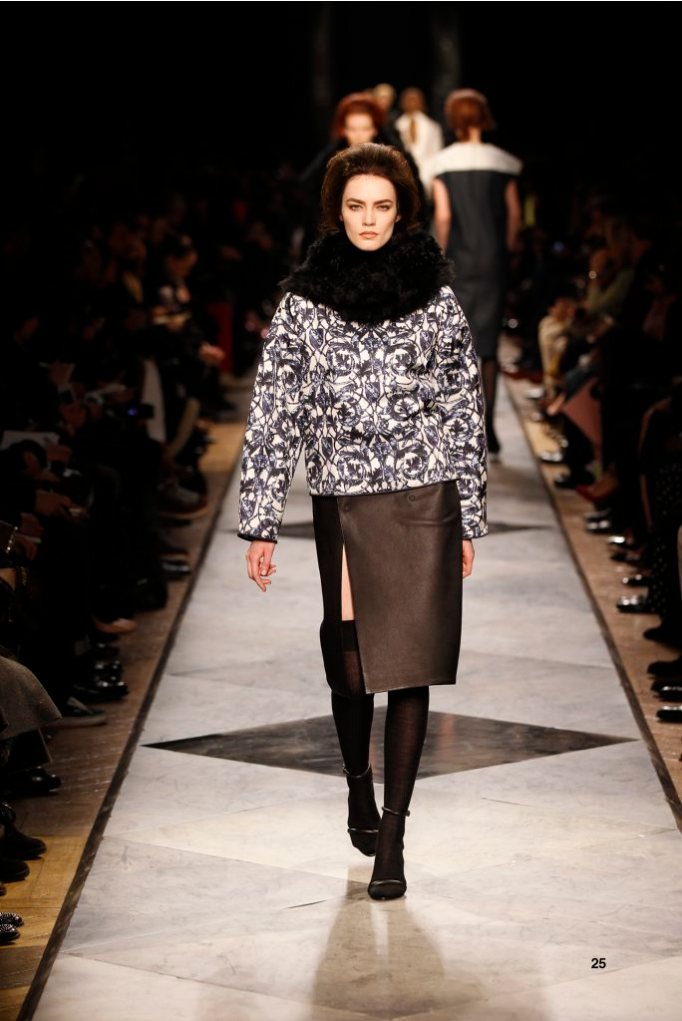 25-LOEWE-AH-2013-Blue and White 'Ceramica'Quilted Print Silk Sweatshirt_ Black Napa Skirt_ Black Shearling Hood_ Black Pierced Napa Sandal