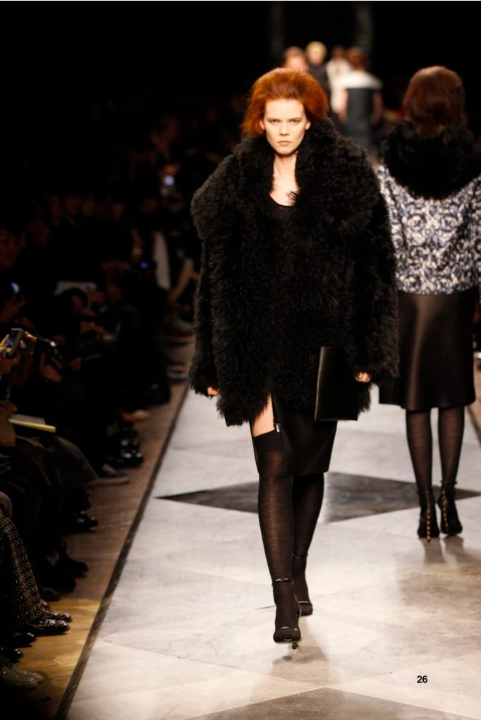 26-LOEWE-AH-2013-Black Shearling Jacket_ Black Cashmere Rib-knit Vest_ Black Napa Skirt_ Black Short Hair Snake Sandal