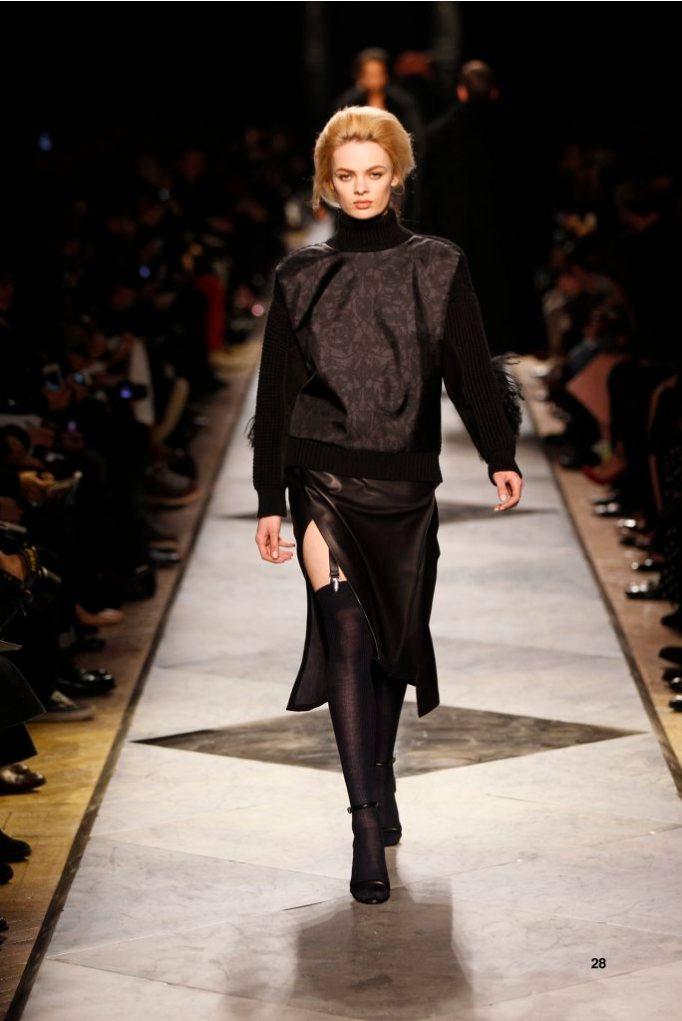 28-LOEWE-AH-2013-Dark Navy 'Ceramica' Print Silk High-neck Rib-knit Sweater_ Navy Napa Skirt_ Black Napa Sandals