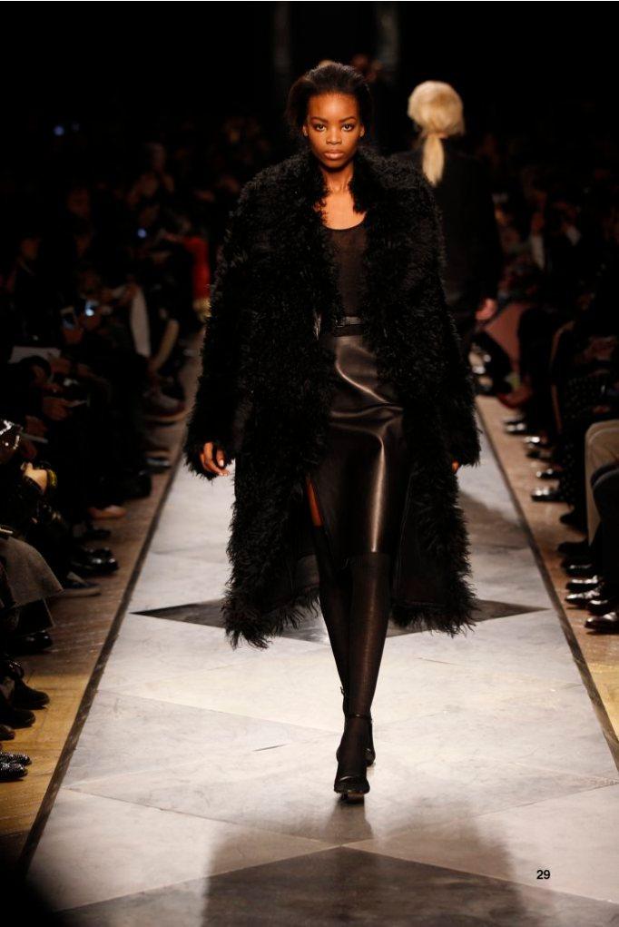 29-LOEWE-AH-2013-Black Shearling Coat_ Black Cashmere Rib-knit Vest_ Black Napa Skirt_ Black Napa Sandal