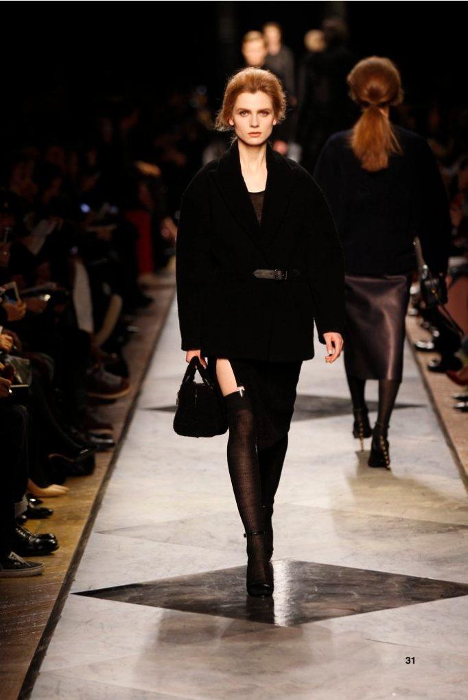 31-LOEWE-AH-2013-Black Shearling Jacket_ Black Cashmere Rib-knit Vest_ Black Napa Skirt_ Black Pierced Napa Sandal_ Black Shearling 'Amazona 28' Bag
