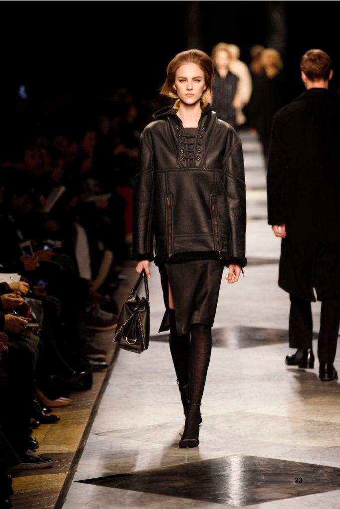33-LOEWE-AH-2013-Black Shearling Hooded Sweatshirt_ Black Napa Skirt_ Black Pierced Napa Sandal_ Black Pierced Calf 'Amaya' Bag