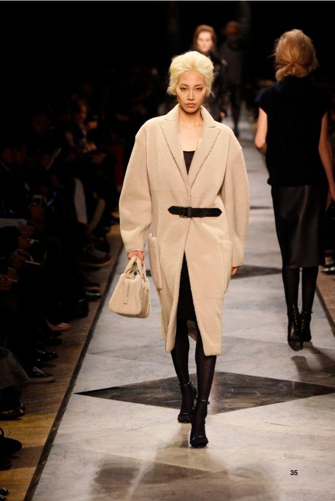 35-LOEWE-AH-2013-Dark Sand Shearling Coat_ Black Cashmere Rib-knit Dress_ Black Pierced Napa Sandal_ Dark Sand Shearling 'Amazona 28' Bag