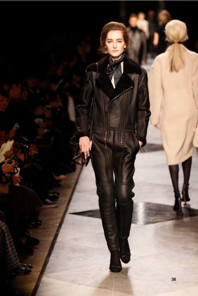 36-LOEWE-AH-2013-Black Shearling Flying Suit_ Navy and Black'Ceramica'Patchwork Silk Scarf_ Black Pierced Napa Sandal_ Black Pierced Calf 'Amaya 23' Bag