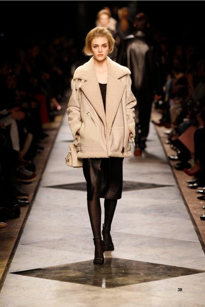38-LOEWE-AH-2013-Dark Sand Shearling Aviator Jacket_ Black Cashmere Rib-knit Vest_ Black Napa Skirt_ Black Short Hair Napa Sandal_ Dark Sand Buffalo 'Amaya 23' Bag