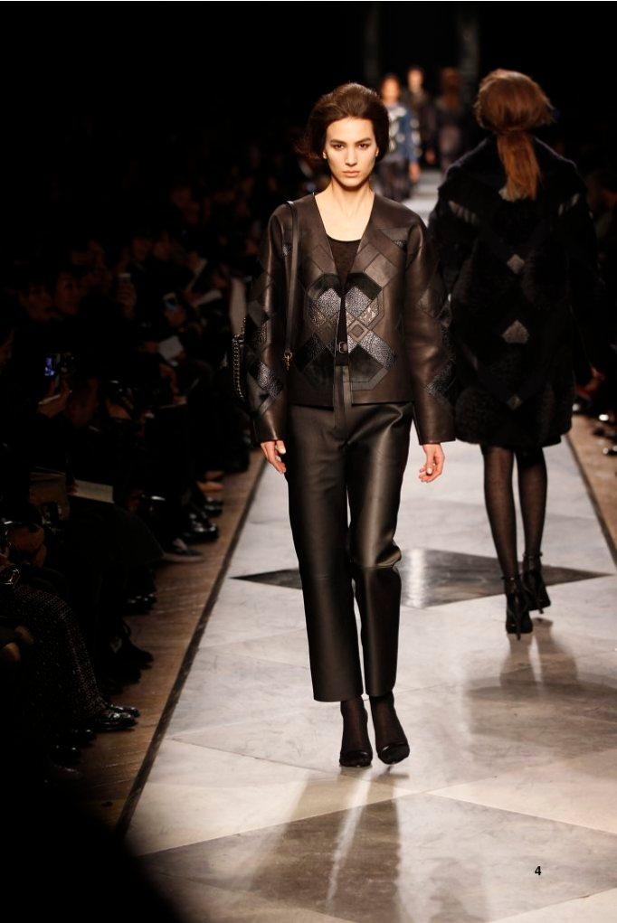 4-LOEWE-AH-2013-Black Napa Patchwork Jacket_ Black Cashmere Rib-knit Vest_ Black Napa Trousers_ Gold Chevaliere Ring_ Black Leather Sandal_ Black Leather Patchwork 'Aia 23' Bag