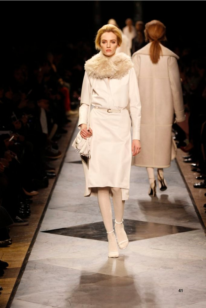 41-LOEWE-AH-2013-White Napa Shirt_ White Napa Skirt_ Dark Sand Shearling Hood_ White Napa Sandal_ White Napa 'Flamenco Box' Bag