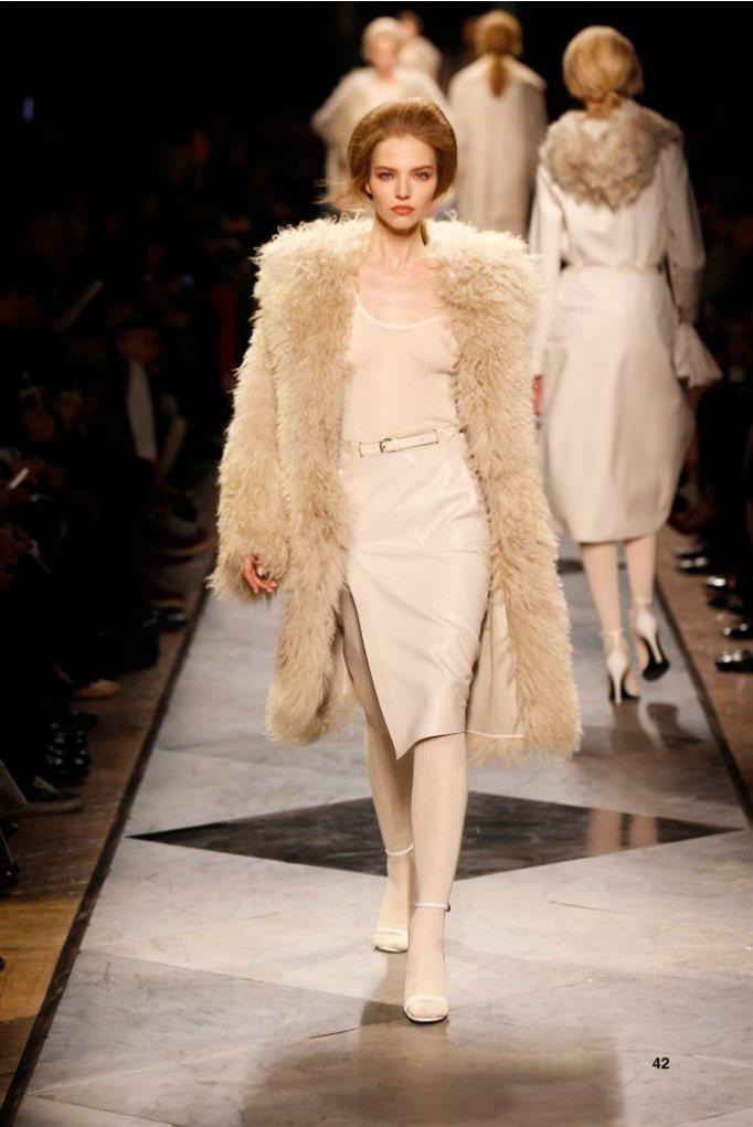 42-LOEWE-AH-2013-Dark Sand Shearling Coat_ White Cashmere Rib-knit Vest_ White Napa Skirt_ White Napa Sandal