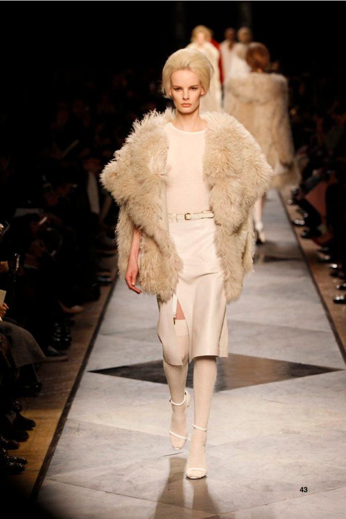 43-LOEWE-AH-2013-Dark Sand Shearling Jacket_ White Napa Skirt_ White Napa Sandal