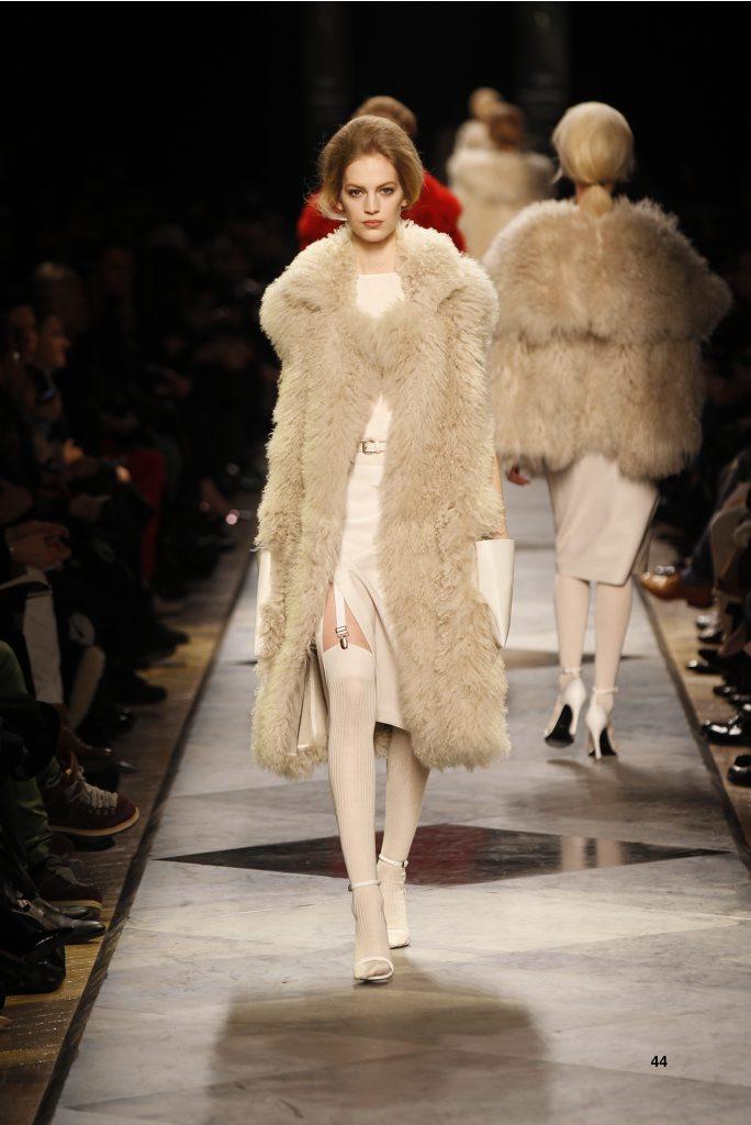 44-LOEWE-AH-2013-Dark Sand Shearling Coat_ White Cashmere Rib-knit Vest_ White Napa Skirt_ White Napa Sandal