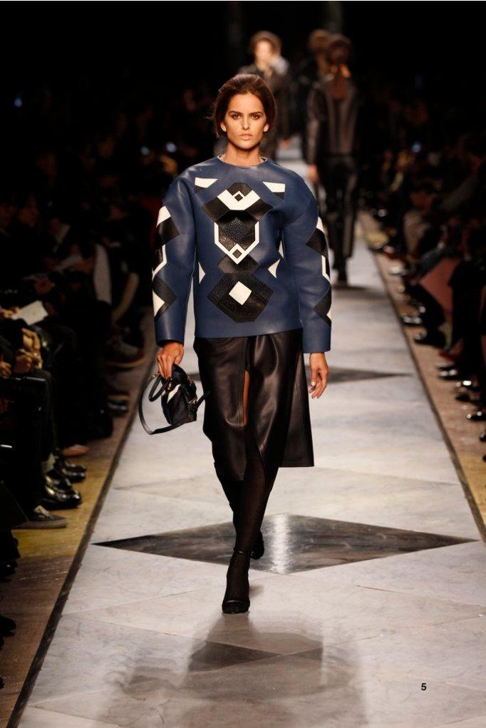 5-LOEWE-AH-2013-Royal Blue Napa Patchwork Sweatshirt_ Navy Napa Skirt_ Black Short Hair Napa Sandal_ Royal Blue Leather Patchwork 'Amaya 23' Bag