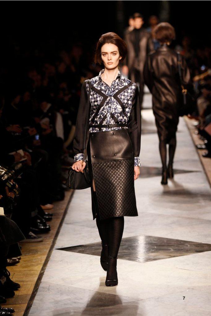 7-LOEWE-AH-2013-Blue and White 'Ceramica'Print Silk Patchwork Blouse_ Black Bonded Napa Skirt_ Black Napa Sandal_ Black Buffalo 'Amaya 23' Bag