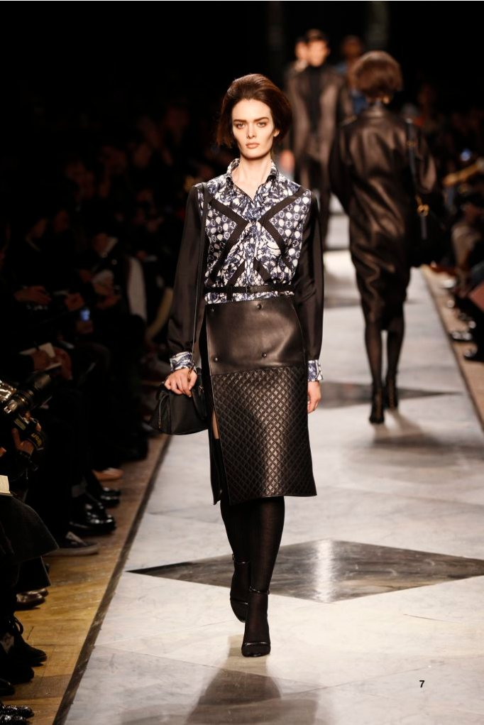 7-LOEWE-AH-2013-Blue and White 'Ceramica'Print Silk Patchwork Blouse_ Black Bonded Napa Skirt_ Black Napa Sandal_ Black Buffalo 'Amaya 23' Bag