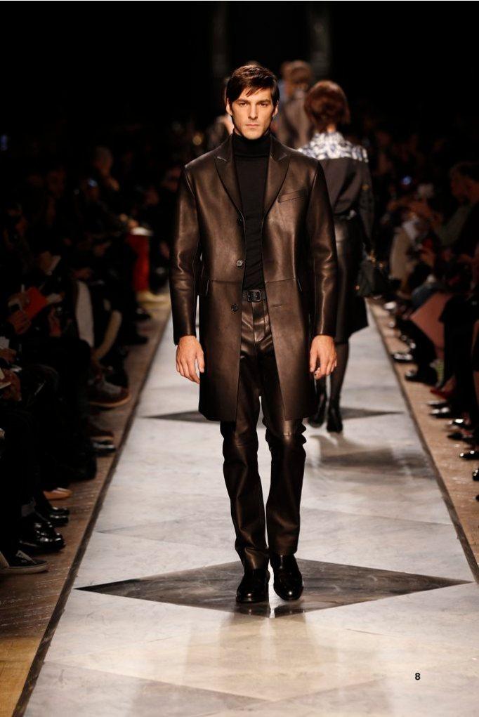 8-LOEWE-AH-2013-Black Bonded Napa Trench_ Black Cashmere High-neck Jumper_ Black Napa Trousers_ Black Calf Belt_ Black Leather Chelsea Boot