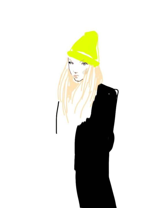 Eudoxie-fashion-Week-bonnet-fluo