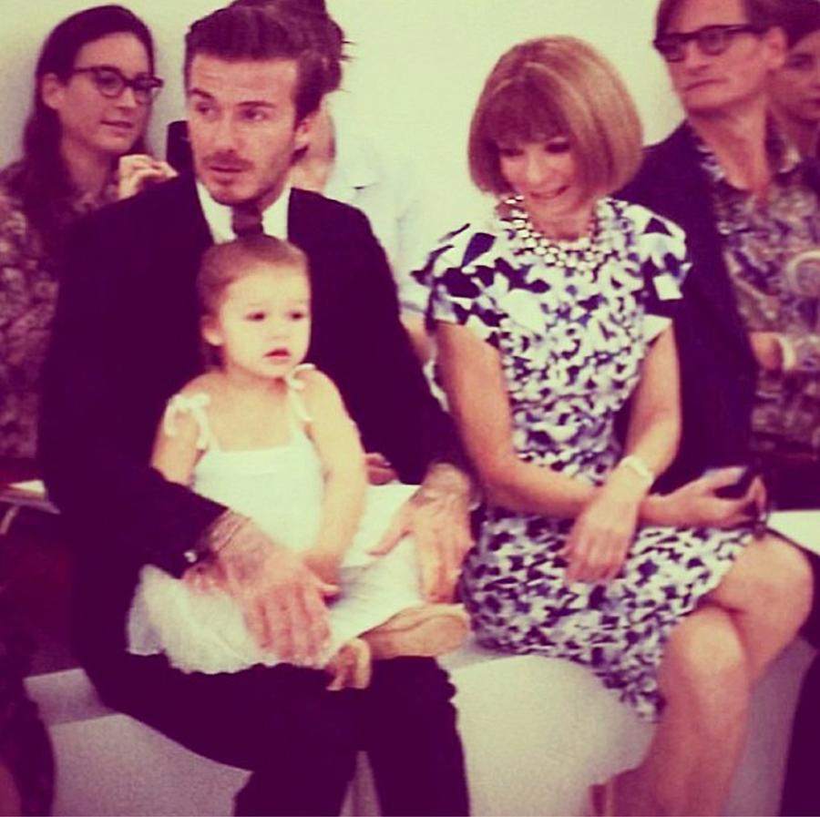 David et Harper Beckham, Anna Wintour - Défilé Victoria Beckham